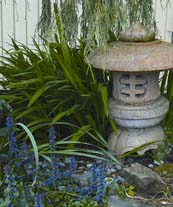 garden with Japanese statue